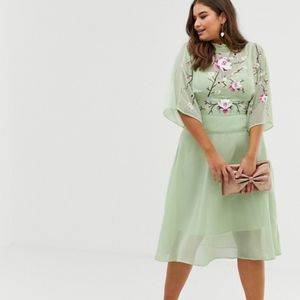 ASOS Curve Embroidered High Neck 70s Midi Dress